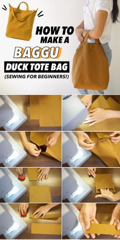 DIY Tote Bag Tutorial (Free Bag Pattern and Video!) I've put together a free tote bag pattern for you to copy along with a step-by-step video tutorial on how to make a DIY tote bag from scratch. Bag Pattern Free, Bag Patterns To Sew, Tote Pattern, Free Tote Bag Patterns, Wallet Pattern, Sewing Patterns, Leather Bag Tutorial, Tote Tutorial, Tote Bag Tutorials