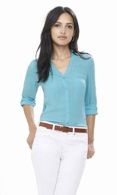 WHITE slim fit convertible sleeve portofino shirt from EXPRESS $50