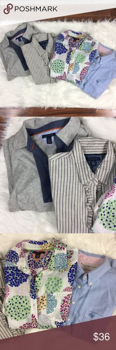 /tommy hilfiger/ button up lot EUC /tommy hilfiger/ button up lot EUC Includes 3 size medium button ups and 1 long sleeve pop over size Large (fits more like a medium) All excellent used condition Tommy Hilfiger Tops Button Down Shirts