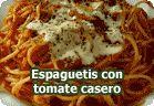 Espaguetis con tomate casero :: receta vegetariana