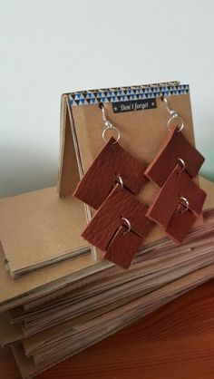 Leather earrings made of leather scraps