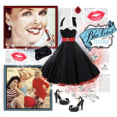 Blue Velvet Vintage Featuring 1950s Reproduction Black Full Circle Halter Swing Dress With Polka Dot Collar by bluevelvetvintage on Polyvore     #ClassicDresses  #pinupstyle #pinup #1950sStyleDress