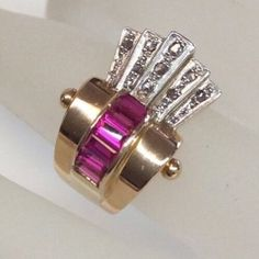 Antique Retro Ruby Diamond Cocktail Ring w Scroll Details Solid 18K Rose Gold | eBay