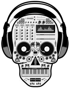 music skull with headphones. #djculture #djart #musicart #blackandwhite http://www.pinterest.com/TheHitman14/dj-culture-vinyl-fantasy/