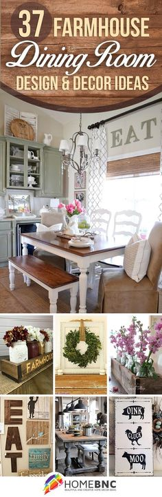 Rustic Dining Room Wall Decor 37 Best Farmhouse Dining Room Design and Decor Ideas for 2020 Cottage Dining Rooms, Country Dining Rooms, Dining Room Wall Decor, Dining Room Design, Kitchen Country, Design Room, Kitchen Dining, Kitchen Decor, Kitchen Tables