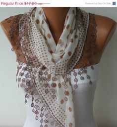 Polka Dot  Scarf -  Cotton Scarves -  Cowl Scarf - Shawl with  Lace Edge - Antique White - fatwoman. $15.30, via Etsy.