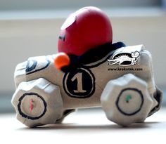egg carton and toilet paper tube race car craft for easter a cool spin Bunny Crafts, Easter Crafts For Kids, Egg Crafts, Egg Box Craft, Diy Rocket, Egg Carton Crafts, Toilet Paper Roll Crafts, Recycled Crafts, Business For Kids