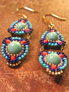 Turquoise and Coral Colored Drop Beaded Earrings by ShegoAndHen