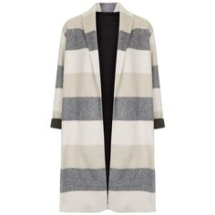 Women's Topshop Stripe Open Front Duster ($165) ❤ liked on Polyvore featuring outerwear, coats, jackets, coats & jackets, tops, wool jersey, open front coat, striped wool coat, topshop coat and stripe coat