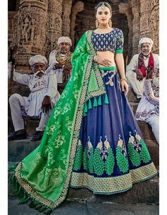 If you are looking to buy lehenga choli. Browse our collection of lehenga choli online and grab it at the best price. Order this ethnic blue and green lehenga choli. Green Lehenga, Indian Lehenga, Silk Lehenga, Bridal Lehenga, Anarkali, Rajasthani Lehenga, Silk Dupatta, Silk Sarees, Fashion Designer