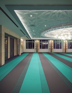 Leicester Modern Islamic Mosque Interior Design Contemporary low ceiling prayer hall centered by Mosque Architecture, Interior Architecture, Interior Design, Leicester, Adobe House, Beautiful Mosques, Islamic Wallpaper, Grand Mosque, Ceiling Design