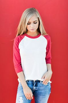 red baseball tee, JessaKae, fourth of july, 4th of july, 4th of july tee, graphic tee, patriotic, blonde, hair, blonde, memorial day, unisex