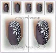 Techniques nail art (notitle) - Most beautiful Nail models Lace Nail Art, Lace Nails, Flower Nails, Nail Art Diy, Diy Nails, Fingernail Designs, Nail Art Designs, Henna Nails, Lines On Nails