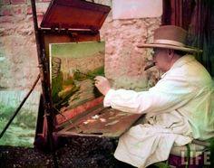 Winston Churchill painting, France, 1948