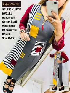Shop Best of NV Selfie Kurtis Online with the best price. Flaunt latest styled cuts and look with these Indian Dresses, Give yourself the stylish look for a Wedding & Parties wear. ⇒ Have a Glance at the Collection Now Clothing Store Displays, Clothing Store Design, Simple Kurti Designs, Kurta Designs Women, Diy Belt For Dresses, Fancy Kurti, Kurta Neck Design, Kurti Designs Party Wear, Indian Designer Outfits