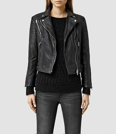 Femmes Papin Leather Biker Jacket (Black) -