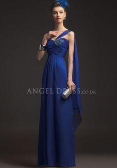 A line One Shoulder Empire Waist Sleeveless Floor Length Chiffon Evening Gown