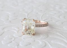 GIA Certified 5.95 Cts. Radiant Cut Fine Light Yellow Sapphire Diamond Solitaire Engagement Ring in 14K Rose Gold