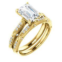 14K Yellow  8x6mm Emerald Engagement Ring