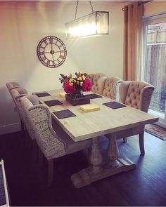 What a beautiful dining room from @theburgesshome Love this look? Get the look with our Versaille pedestal leg dining table, Grenadier printed dining chairs and Skeleton wall clock.