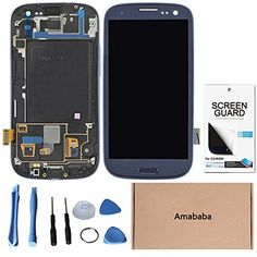 cool Amababa(TM)LCD Touch Screen Display + Frame For Samsung Galaxy S3 SIII SGH-i747 T999 Mobile Phone Repair Part Replacement (Repair Tool Kits + Screen Protector for Free) (Blue) Please note: Compatible for Samsung Galaxy S3 SGH-i747 T999 ONLY,with LOGO. Professional installation is required. If you're not good at repairing, yo…