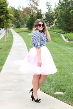 gingham shirt & tulle skirt | Playing Dress Up in a @space46boutique tulle skirt | www.allglammedupstyle.com