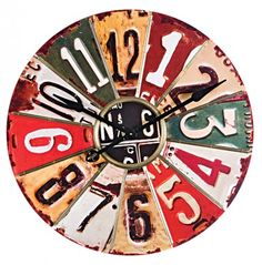 License plate clock for my kitchen! Weathered wall clock with multicolor license plate panels. Product: ClockConstruction Material: Wood and metal. Old License Plates, License Plate Art, Licence Plates, Joss And Main, Metal Animal, Just In Case, Just For You, Design Industrial, My Pool