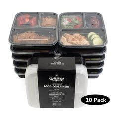 10pcs 1000ml Black Disposable Food Container Snack Ng Bo Microwaveable Pp Lunch Bento Box