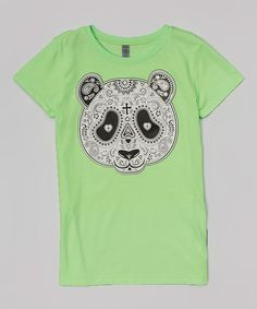 This Bright Green Paisley Panda Fitted Tee - Girls is perfect! #zulilyfinds