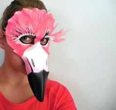 Flamingo Mask Feather Leather Masquerade by LovelyLiddy