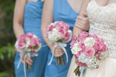Pink and white rose bouquets