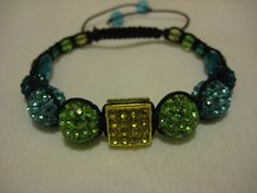 Lime Green Turquoise Peacock Blue Square Citrus by JadedJewelsUK, £12.00