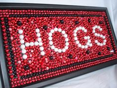 Custom Order Framed Mardi Gras Bead  Mosaic Art Arkansas Hogs red, black, college dorm, CIJ, graduation gift, football, SEC, Father's Day. $40.00, via Etsy.