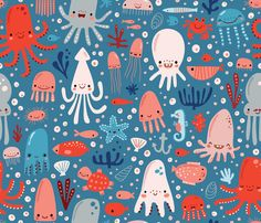 Octopus cavern fabric by anetteheiberg on Spoonflower - custom fabric