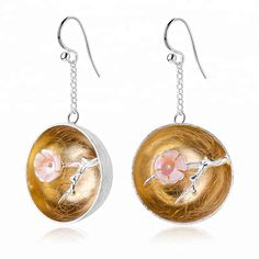 Earrings Aroma of Wintersweet Earrings Main Stone: Shell. Plating, Drop Earrings, Boutique, Sterling Silver, Stone, Accessories, Jewelry, Rock, Jewlery