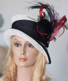 White Black & Red Straw Kentucky Derby Hat by AwardDesign on Etsy,