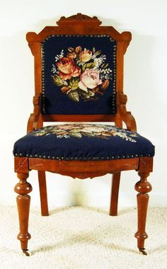 Antique Walnut Victorian Eastlake Lady's Needlepoint Chair