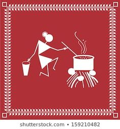 Warli Painting of a village woman cooking Worli Painting, Fabric Painting, Art Drawings For Kids, Art Drawings Sketches Simple, Tribal Art, Geometric Art, Canvas Art Projects, Madhubani Art, Indian Folk Art