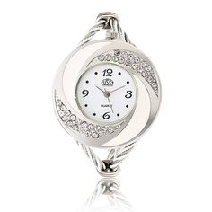 Sale 25% (4.29$) - CUSSI Crystal Round Dial Alloy Weave Band Women Bracelet Analog Watch