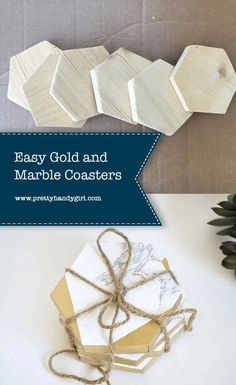 This DIY project is all about bling and saving money – easy gold and marble coasters. | Pretty Handy Girl | #prettyhandygirl #diy #diyprojects #diycoasters #coasters #crafts #crafty