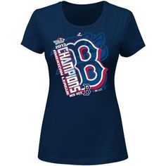 Majestic Boston Red Sox 2013 MLB American League Champions Ladies Locker Room Clubhouse T-Shirt - Navy Blue