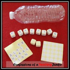 All you need for this quick and easy literacy center is an empty water bottle and some blank dice (link to purchase included.) Students roll the dice and make words using the letters rolled. File includes instuctions for making the center, directions for students, and a recording sheet. #literacycenters, #wordwork, #boggle, #teacherspayteachers  $1.50