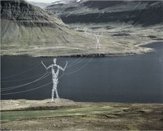 DESIGN: Land of the Giants by Choi + Shine Architects American design firm Choi + Shine Architects designed these conceptual electricity pylons shaped like human-shaped statues to march across the. Architecture Awards, Landscape Architecture, Landscape Elements, Amazing Architecture, Architecture Design, Land Art, Statues, Transmission Tower, Giant People