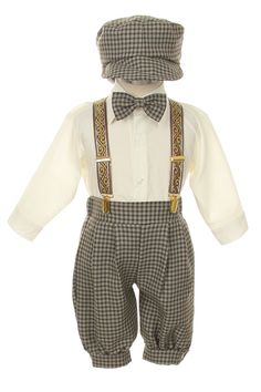 DapperLads - 6 Pc Brown Checked Boy's Knicker Set - Infant / Baby Boy - infant size boys clothing, clothes for infants and baby boys