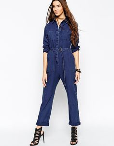 fd5bfe8cdb4 Playsuit by ASOS Collection Lightweight textured denim Concealed button  placket Functional pockets Removable D-ring belt Regular fit - true to size  Machine ...
