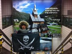 Occupied]  Norway in Samgakji Station @South Korea   by Cap'n @마르  #pirate         Make your own Flag, visit  http://thepirateflag.tumblr.com    check about more about this story    http://travelro.co.kr/event