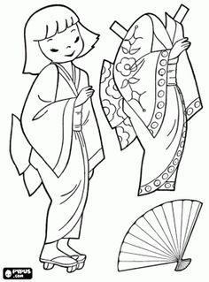 Japanese doll to play dress up with kimono coloring page - lots of different countries boy and girl paper dolls
