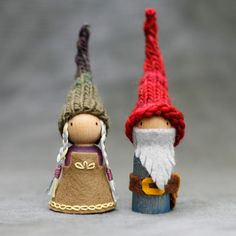 Waldorf Inspired Peg Doll Gnome Couple by BeetleAndFern on Etsy