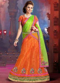 Outstanding Orange Green Net Brocade Designer Lehenga Choli http://www.angelnx.com/