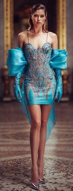 Glam Dresses, Pretty Dresses, Formal Dresses, Peplum Dress, Strapless Dress, Bodycon Dress, Elegant Gloves, Women's Evening Dresses, Atelier Versace